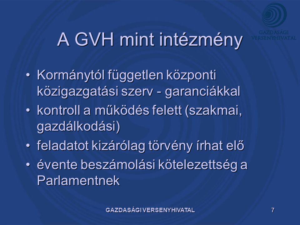 GAZDASÁGI VERSENYHIVATAL7 A GVH mint intézmény Kormánytól független központi közigazgatási szerv - garanciákkalKormánytól független központi közigazga