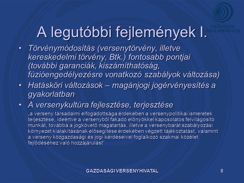 GAZDASÁGI VERSENYHIVATAL9 A legutóbbi fejlemények II.