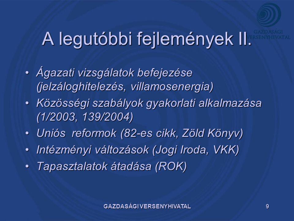 GAZDASÁGI VERSENYHIVATAL9 A legutóbbi fejlemények II. Ágazati vizsgálatok befejezése (jelzáloghitelezés, villamosenergia)Ágazati vizsgálatok befejezés