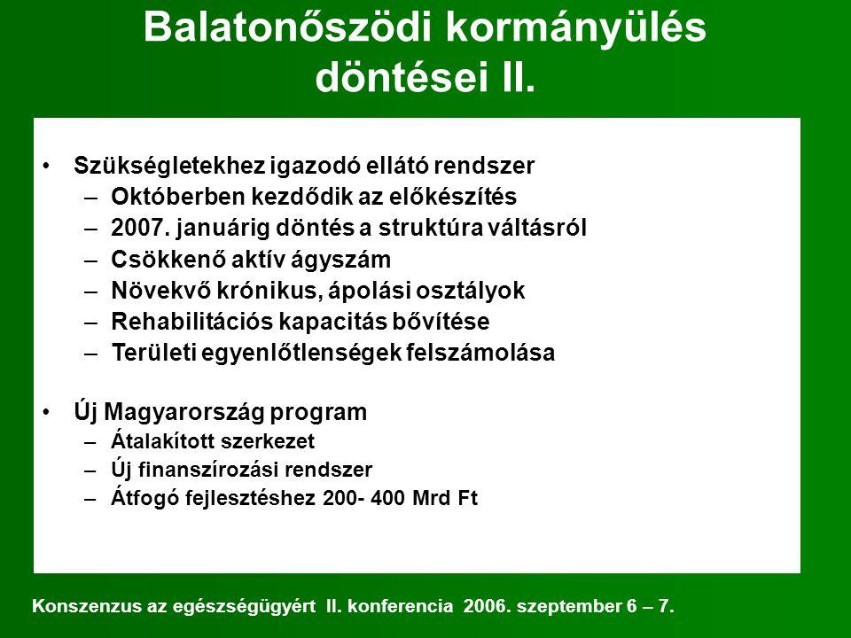 Balatonőszödi kormányülés döntései II.