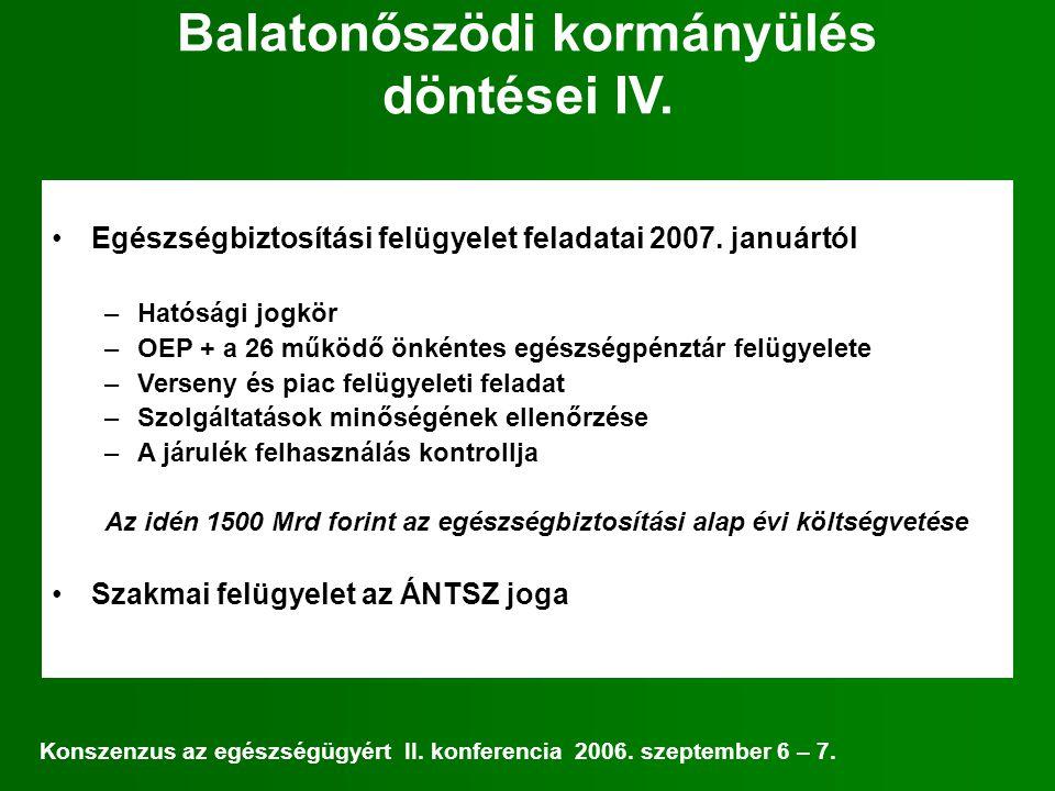 Balatonőszödi kormányülés döntései IV. Egészségbiztosítási felügyelet feladatai 2007.