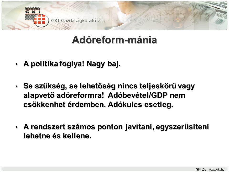 GKI Zrt., www.gki.hu Adóreform-mánia  A politika foglya! Nagy baj.  Se szükség, se lehetőség nincs teljeskörű vagy alapvető adóreformra! Adóbevétel/