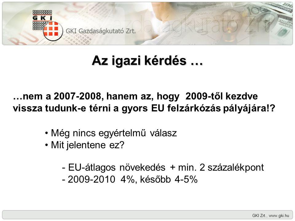 Az igazi kérdés … GKI Zrt., www.gki.hu …nem a 2007-2008, hanem az, hogy 2009-től kezdve vissza tudunk-e térni a gyors EU felzárkózás pályájára!? Még n