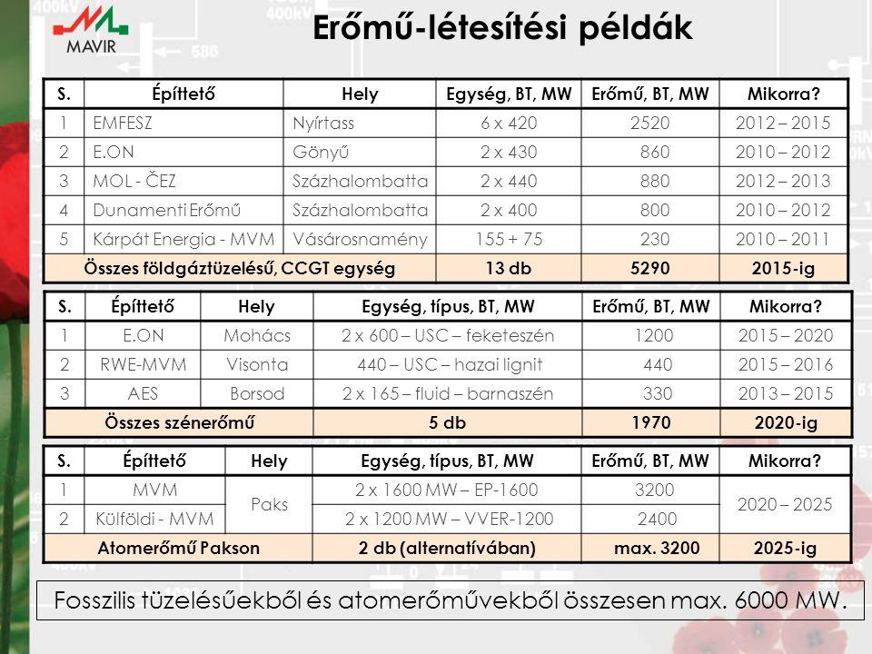 Erőmű-létesítési példák S.ÉpíttetőHelyEgység, BT, MWErőmű, BT, MWMikorra.