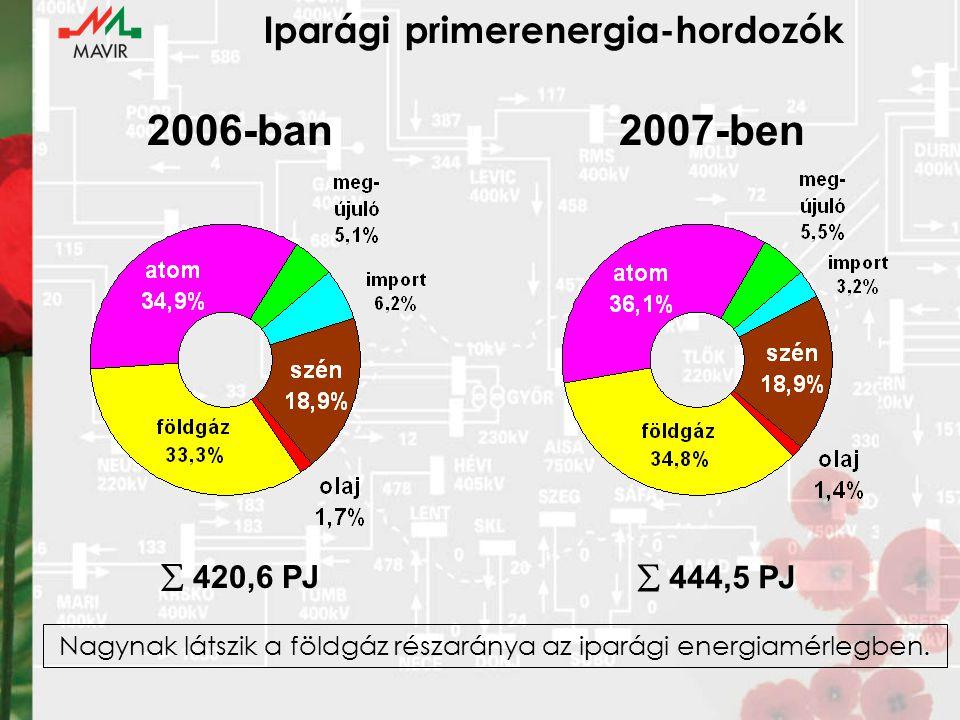 Iparági primerenergia-hordozók  420,6 PJ  444,5 PJ 2006-ban2007-ben Nagynak látszik a földgáz részaránya az iparági energiamérlegben.