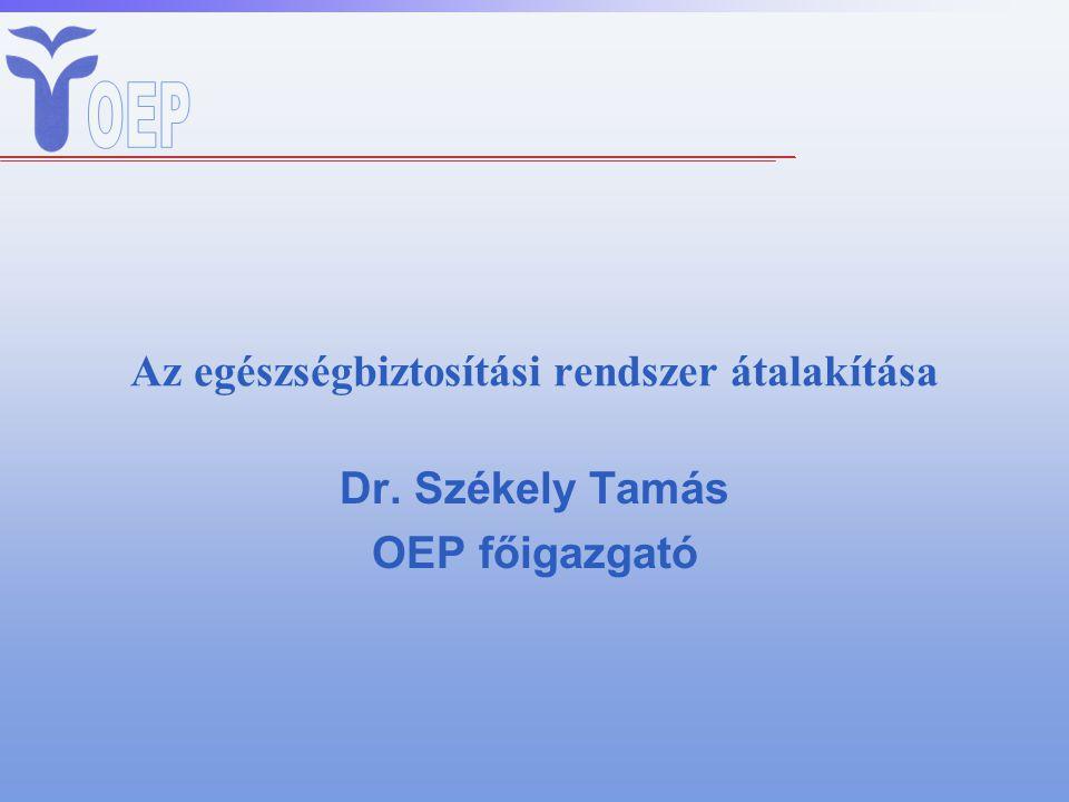 Az egészségbiztosítási rendszer átalakítása Dr. Székely Tamás OEP főigazgató