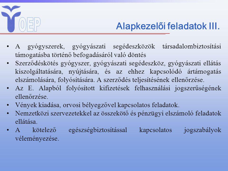 Alapkezelői feladatok III. A gyógyszerek, gyógyászati segédeszközök társadalombiztosítási támogatásba történő befogadásáról való döntés Szerződéskötés
