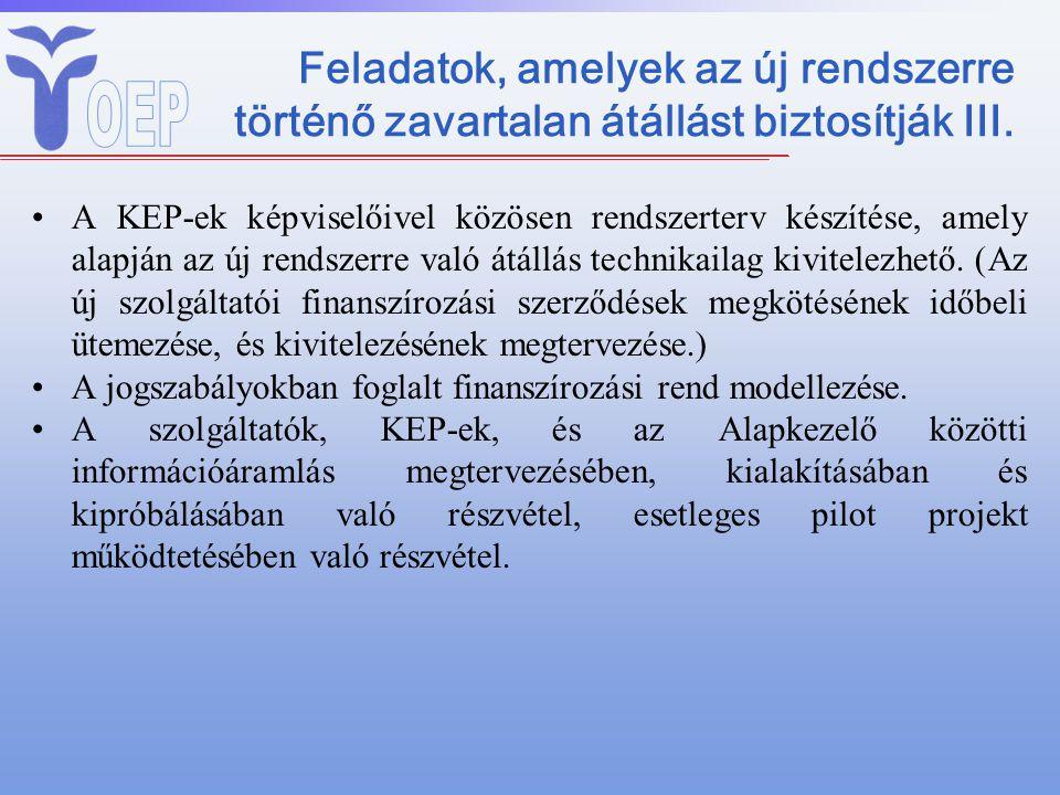 Feladatok, amelyek az új rendszerre történő zavartalan átállást biztosítják III. A KEP-ek képviselőivel közösen rendszerterv készítése, amely alapján