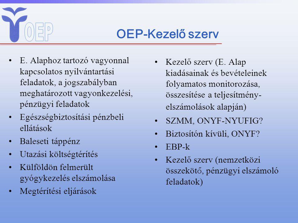OEP-Kezelő szerv E. Alaphoz tartozó vagyonnal kapcsolatos nyilvántartási feladatok, a jogszabályban meghatározott vagyonkezelési, pénzügyi feladatok E
