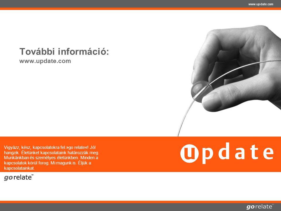 copyright © 2005 | update software AG | 23.07.2014 www.update.com További információ: www.update.com Vigyázz, kész, kapcsolatokra fel.»go relate«.
