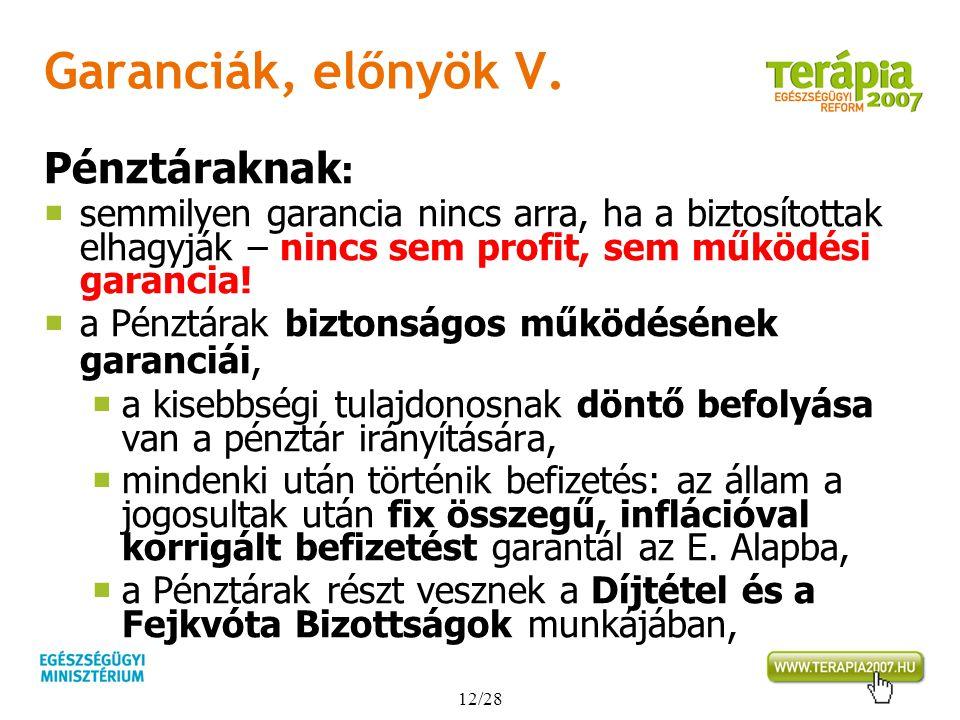 12/28 Garanciák, előnyök V. Pénztáraknak :  semmilyen garancia nincs arra, ha a biztosítottak elhagyják – nincs sem profit, sem működési garancia! 