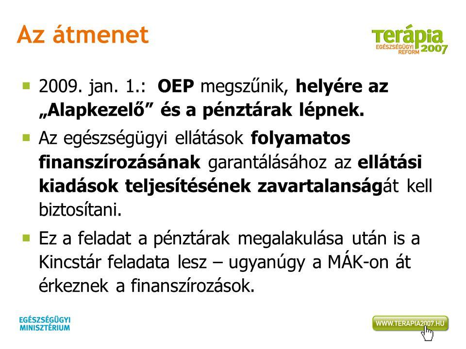 """Az átmenet  2009. jan. 1.: OEP megszűnik, helyére az """"Alapkezelő"""" és a pénztárak lépnek.  Az egészségügyi ellátások folyamatos finanszírozásának gar"""