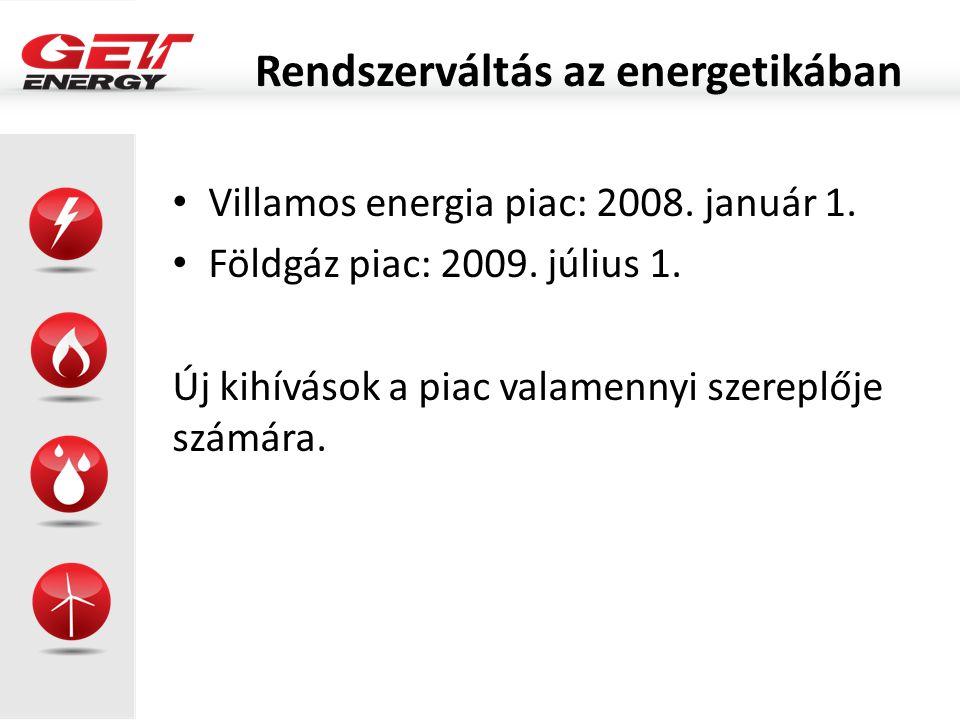 Rendszerváltás az energetikában Villamos energia piac: 2008. január 1. Földgáz piac: 2009. július 1. Új kihívások a piac valamennyi szereplője számára
