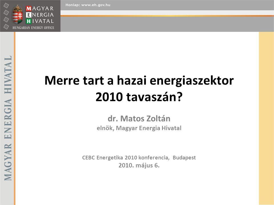 Merre tart a hazai energiaszektor 2010 tavaszán? dr. Matos Zoltán elnök, Magyar Energia Hivatal CEBC Energetika 2010 konferencia, Budapest 2010. május