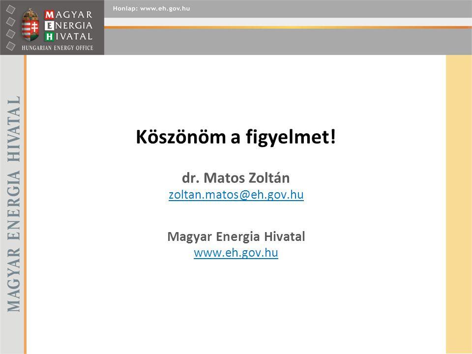 Köszönöm a figyelmet! dr. Matos Zoltán zoltan.matos@eh.gov.hu Magyar Energia Hivatal www.eh.gov.hu