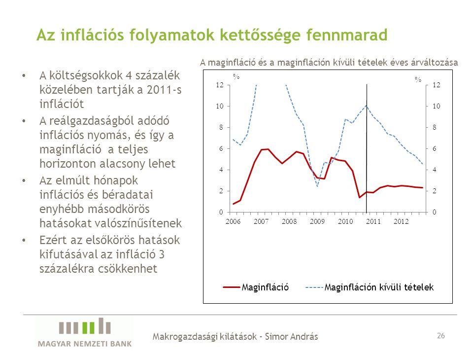 Az inflációs folyamatok kettőssége fennmarad A költségsokkok 4 százalék közelében tartják a 2011-s inflációt A reálgazdaságból adódó inflációs nyomás, és így a maginfláció a teljes horizonton alacsony lehet Az elmúlt hónapok inflációs és béradatai enyhébb másodkörös hatásokat valószínűsítenek Ezért az elsőkörös hatások kifutásával az infláció 3 százalékra csökkenhet Makrogazdasági kilátások - Simor András 26 A maginfláció és a maginfláción kívüli tételek éves árváltozása
