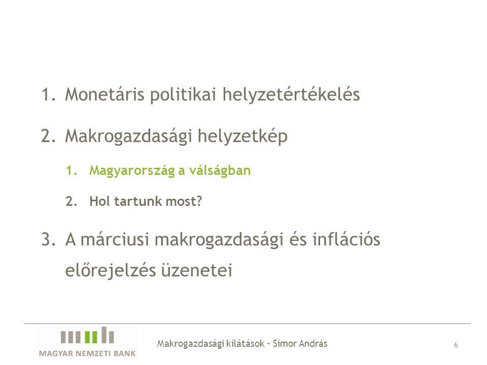 Inflációs alapfolyamatokat megragadó mutatóink az elmúlt két hónapban érdemben csökkentek Makrogazdasági kilátások - Simor András 17 Az inflációs alapfolyamatot megragadó mutatóink sávja