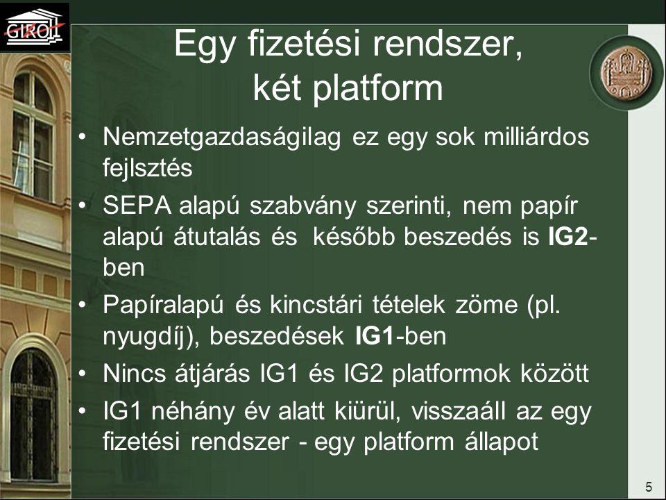 5 Egy fizetési rendszer, két platform Nemzetgazdaságilag ez egy sok milliárdos fejlsztés SEPA alapú szabvány szerinti, nem papír alapú átutalás és kés