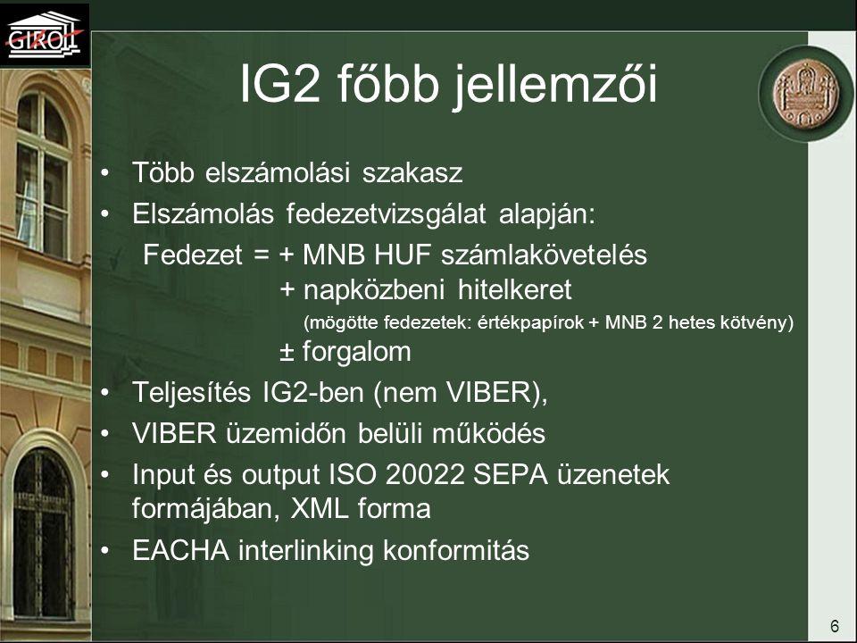Hungarian Credit Transfer (HCT) fogalma SCT – SDD (Sepa Credit Transfer – Sepa Direct Debit) A HCT: –forintalapú SCT (nincs fillér – van cent), –HCT választható többletszolgáltatásai (AOS) SCT konformak, (pl.:ékezetes karakterek) –régi BKR tartalmú üzenetek (csoportos beszedés kivételével) HCT-nek megfeleltethető 7