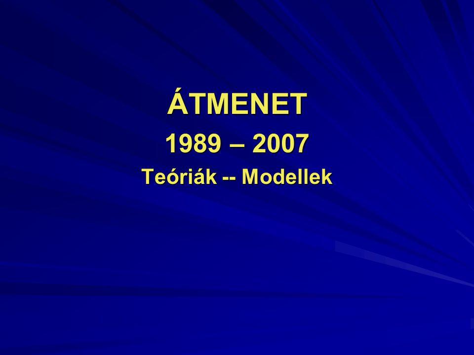 ÁTMENET 1989 – 2007 Teóriák -- Modellek