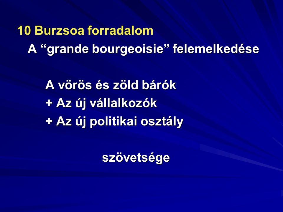 """10 Burzsoa forradalom A """"grande bourgeoisie"""" felemelkedése A vörös és zöld bárók + Az új vállalkozók + Az új politikai osztály szövetsége"""