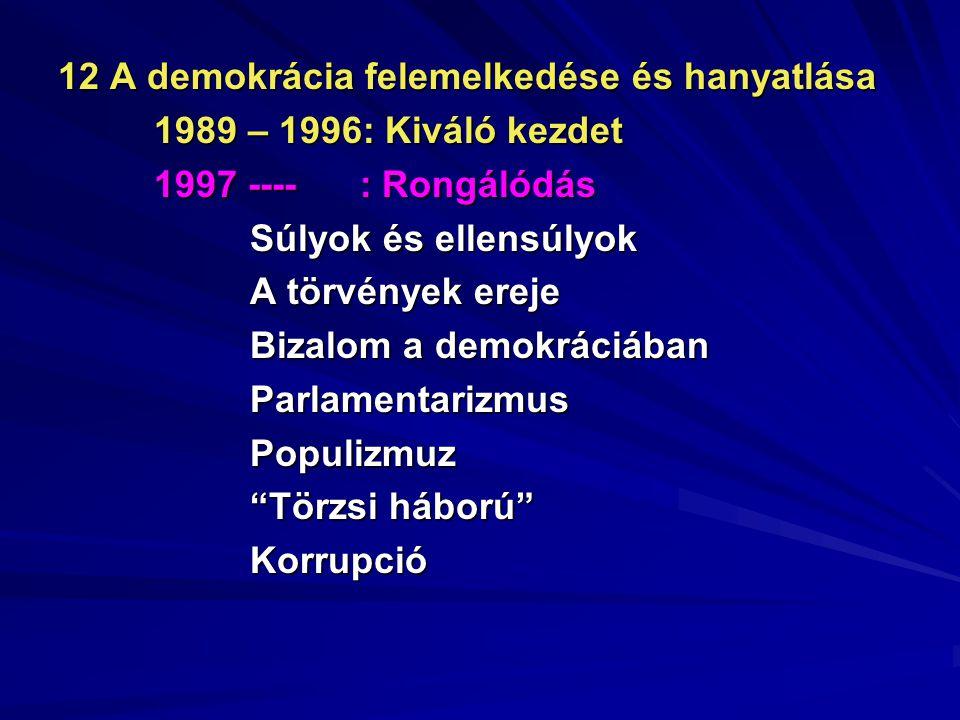 12 A demokrácia felemelkedése és hanyatlása 1989 – 1996: Kiváló kezdet 1997 ---- : Rongálódás Súlyok és ellensúlyok A törvények ereje Bizalom a demokr