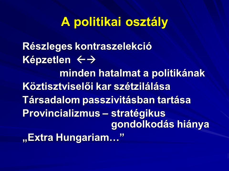 Részleges kontraszelekció Képzetlen  minden hatalmat a politikának Köztisztviselői kar szétzilálása Társadalom passzivitásban tartása Provincializmu