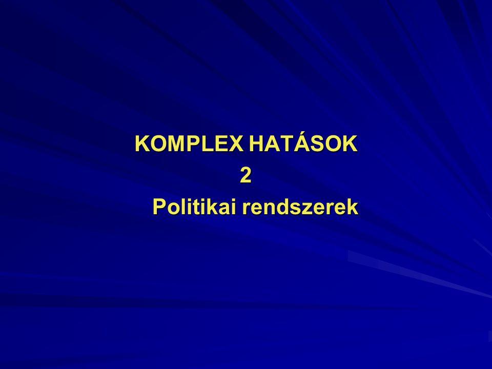 KOMPLEX HATÁSOK 2 Politikai rendszerek