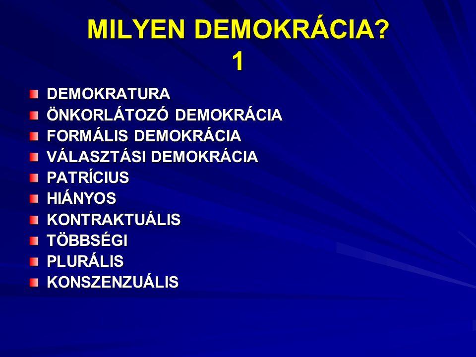 MILYEN DEMOKRÁCIA? 1 DEMOKRATURA ÖNKORLÁTOZÓ DEMOKRÁCIA FORMÁLIS DEMOKRÁCIA VÁLASZTÁSI DEMOKRÁCIA PATRÍCIUS HIÁNYOSKONTRAKTUÁLISTÖBBSÉGI PLURÁLIS KONS