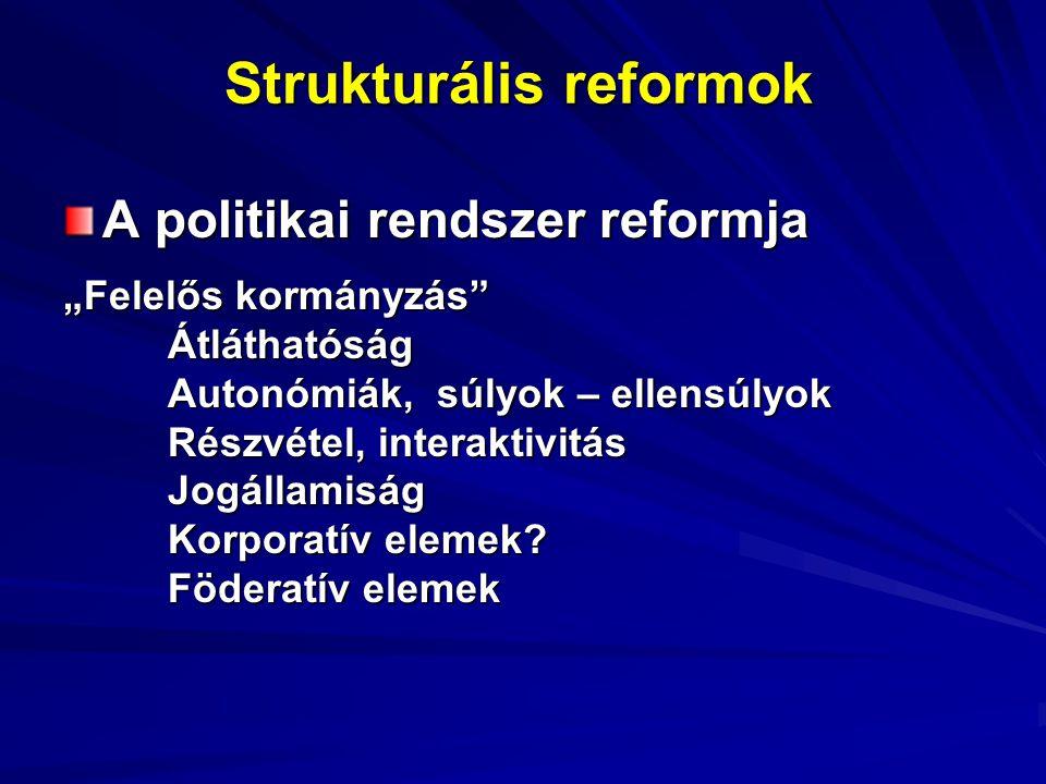 """Strukturális reformok A politikai rendszer reformja """"Felelős kormányzás"""" Átláthatóság Autonómiák, súlyok – ellensúlyok Részvétel, interaktivitás Jogál"""