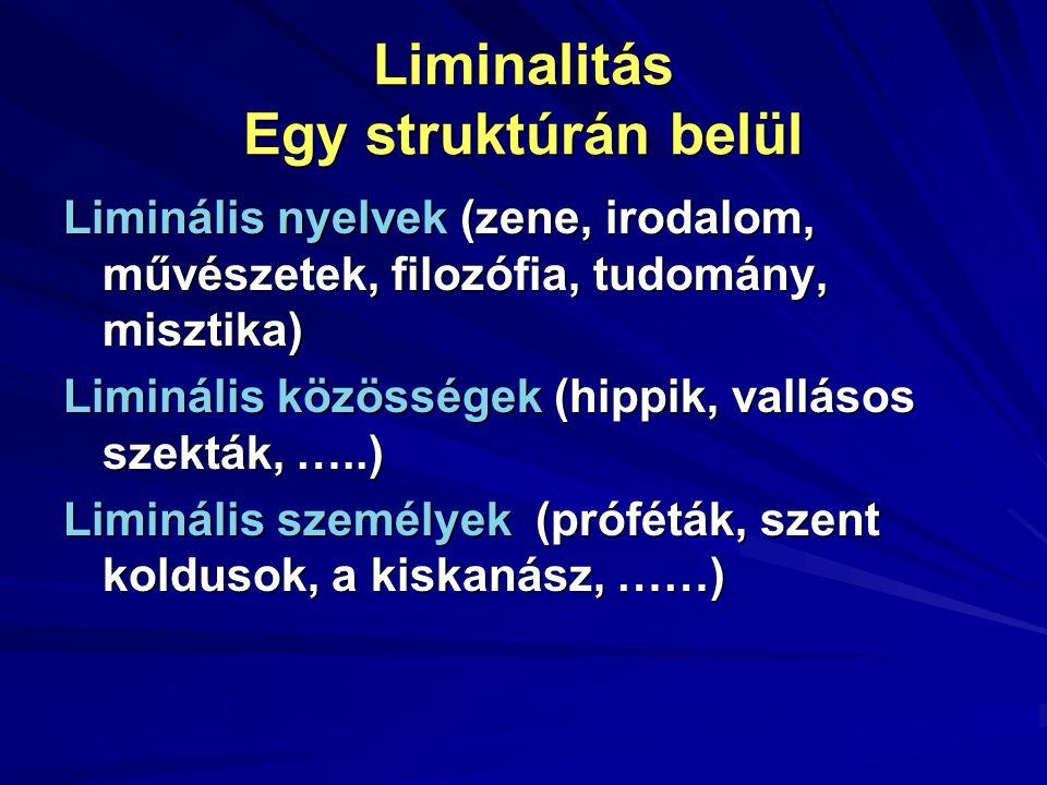 Liminalitás Egy struktúrán belül Liminális nyelvek (zene, irodalom, művészetek, filozófia, tudomány, misztika) Liminális közösségek (hippik, vallásos