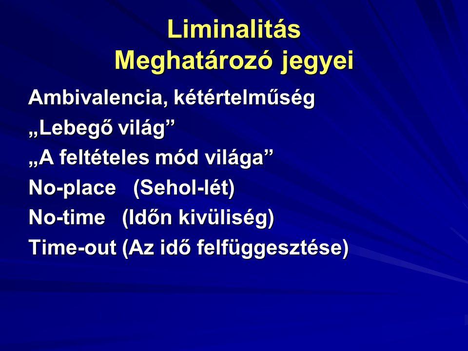"""Liminalitás Meghatározó jegyei Ambivalencia, kétértelműség """"Lebegő világ"""" """"A feltételes mód világa"""" No-place (Sehol-lét) No-time(Időn kivüliség) Time-"""