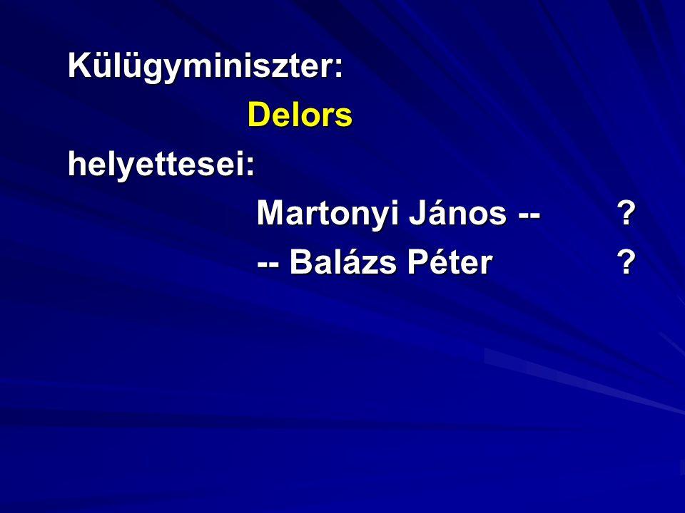 Külügyminiszter:Delorshelyettesei: Martonyi János -- ? Martonyi János -- ? -- Balázs Péter ? -- Balázs Péter ?