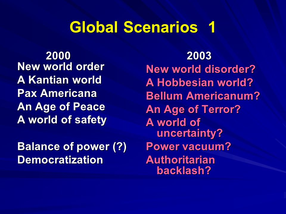 Global Scenarios 1 2000 New world order A Kantian world Pax Americana An Age of Peace A world of safety Balance of power (?) Democratization 2003 2003