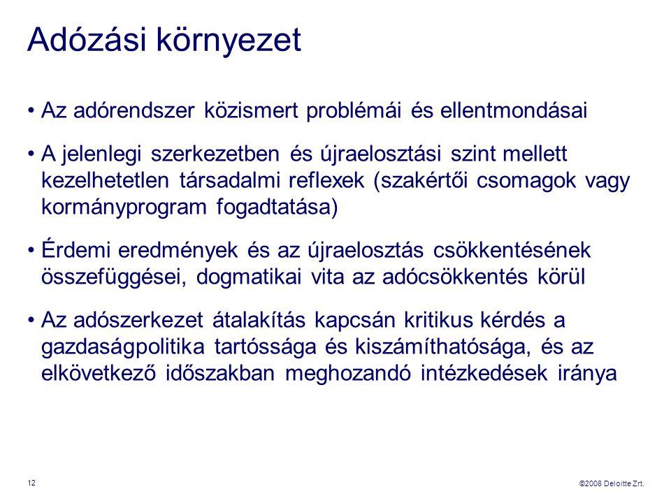 ©2008 Deloitte Zrt. Adózási környezet Az adórendszer közismert problémái és ellentmondásai A jelenlegi szerkezetben és újraelosztási szint mellett kez