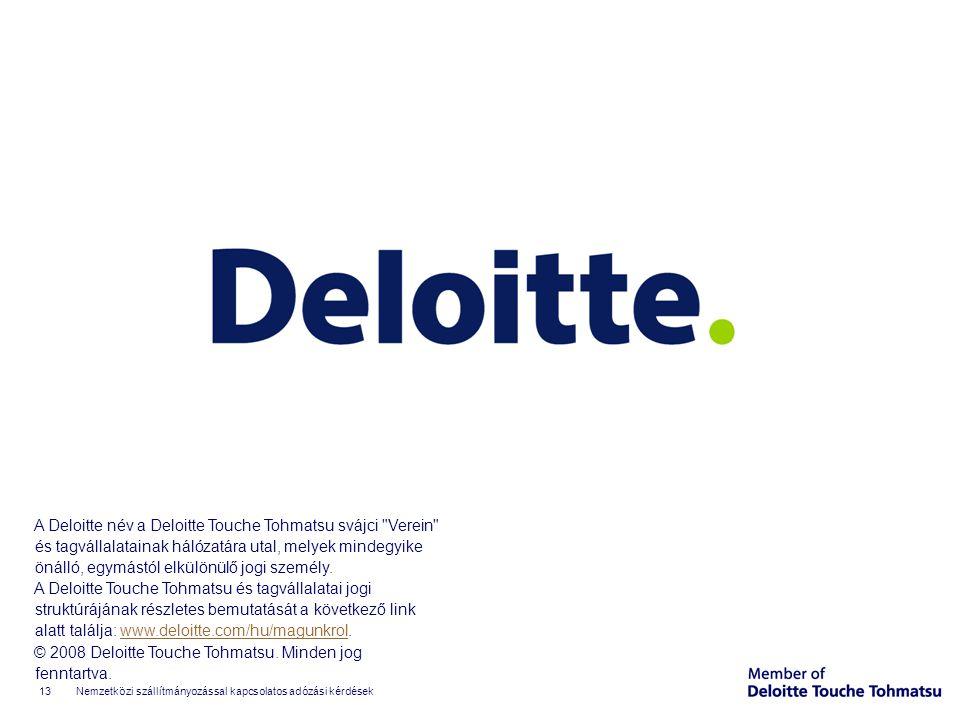©2008 Deloitte Zrt. A Deloitte név a Deloitte Touche Tohmatsu svájci