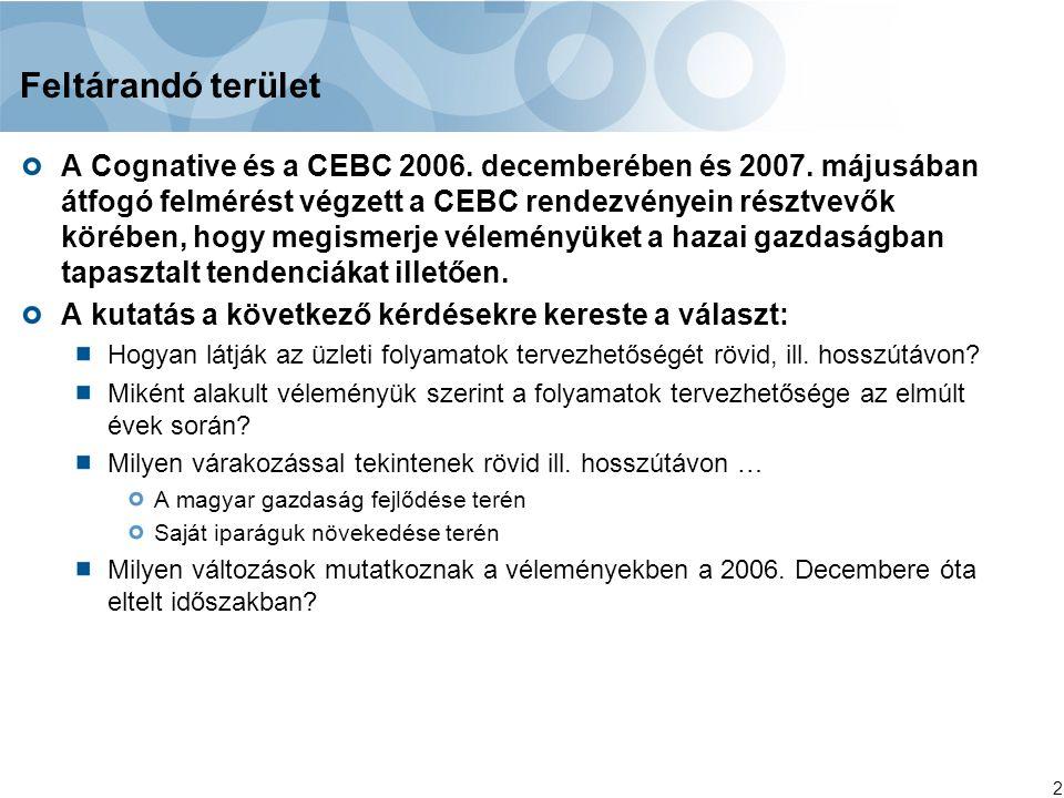 2 Feltárandó terület A Cognative és a CEBC 2006. decemberében és 2007. májusában átfogó felmérést végzett a CEBC rendezvényein résztvevők körében, hog