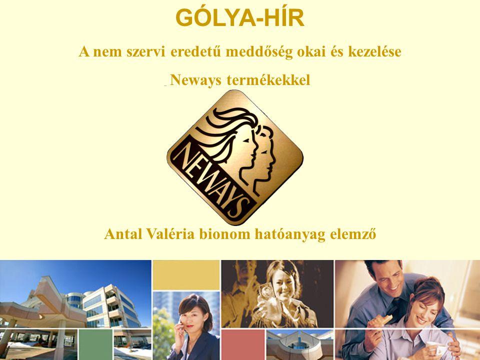 GÓLYA-HÍR A nem szervi eredetű meddőség okai és kezelése Neways termékekkel Antal Valéria bionom hatóanyag elemző