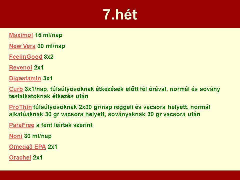 7.hét MaximolMaximol 15 ml/nap New VeraNew Vera 30 ml/nap FeelinGoodFeelinGood 3x2 RevenolRevenol 2x1 DigestaminDigestamin 3x1 CurbCurb 3x1/nap, túlsú