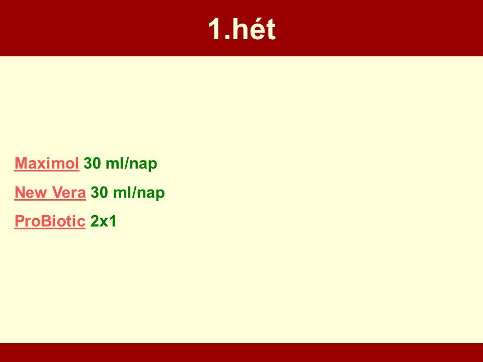 1.hét MaximolMaximol 30 ml/nap New VeraNew Vera 30 ml/nap ProBioticProBiotic 2x1