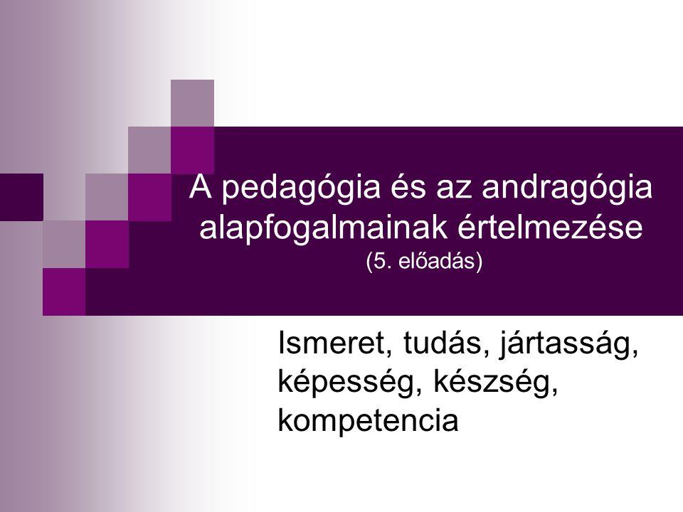 A pedagógia és az andragógia alapfogalmainak értelmezése (5. előadás) Ismeret, tudás, jártasság, képesség, készség, kompetencia