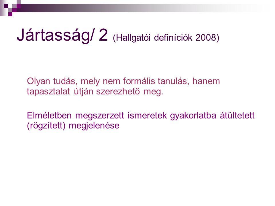 Jártasság/ 2 (Hallgatói definíciók 2008) Olyan tudás, mely nem formális tanulás, hanem tapasztalat útján szerezhető meg. Elméletben megszerzett ismere