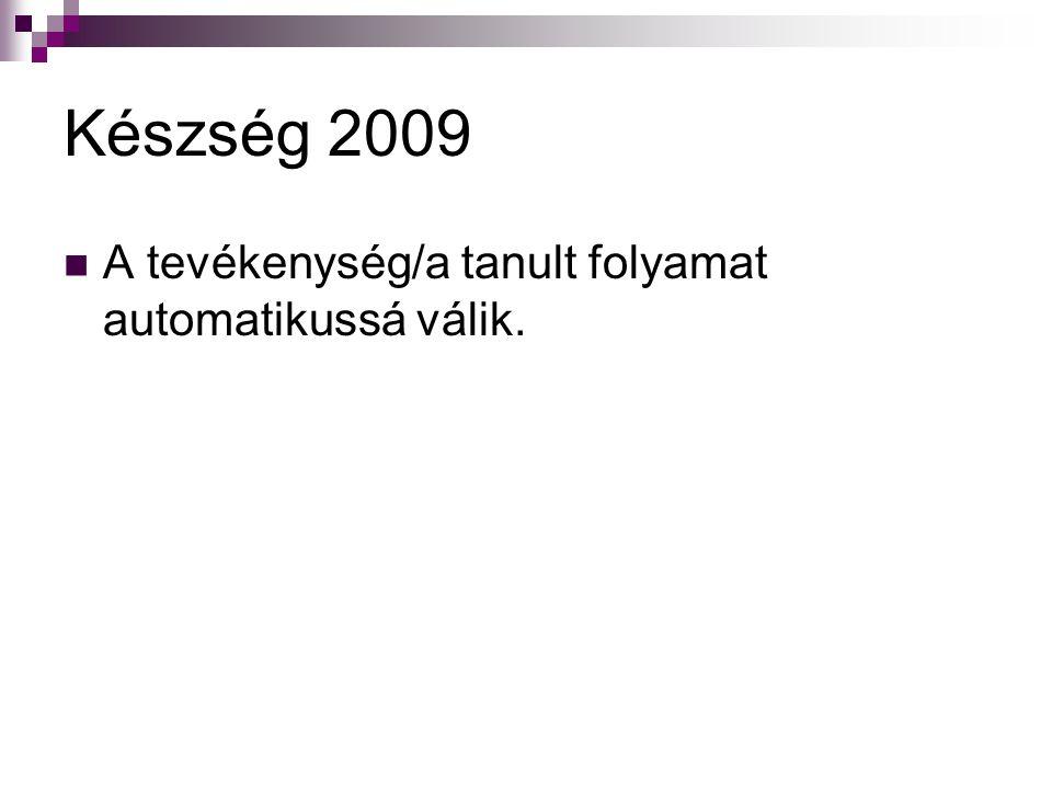 Készség 2009 A tevékenység/a tanult folyamat automatikussá válik.