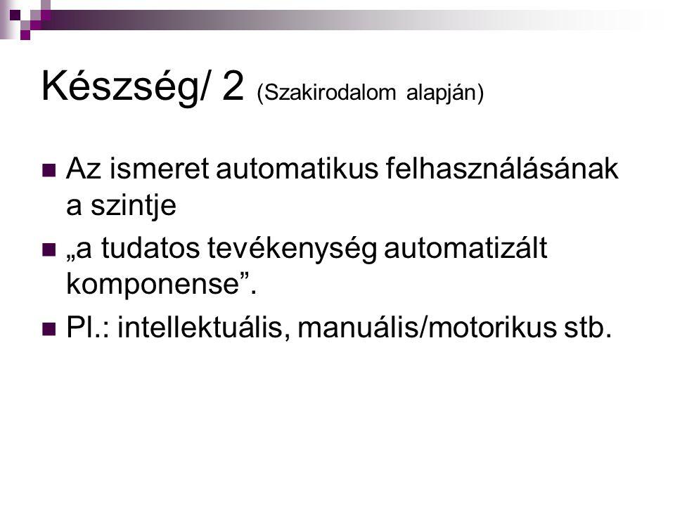 """Készség/ 2 (Szakirodalom alapján) Az ismeret automatikus felhasználásának a szintje """"a tudatos tevékenység automatizált komponense"""". Pl.: intellektuál"""