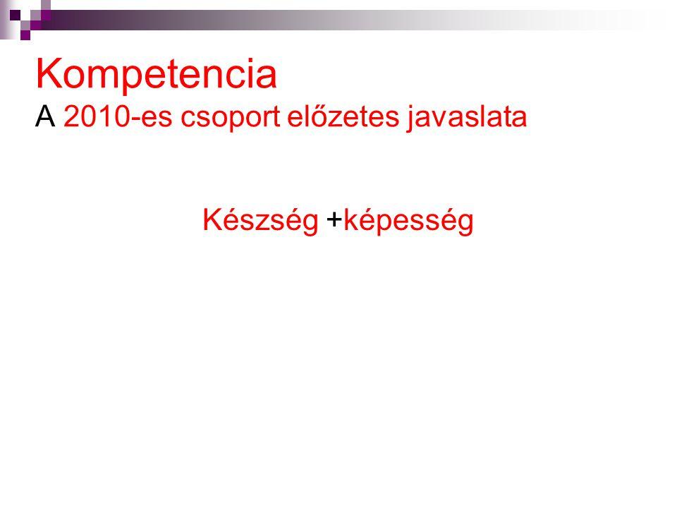 Kompetencia A 2010-es csoport előzetes javaslata Készség +képesség