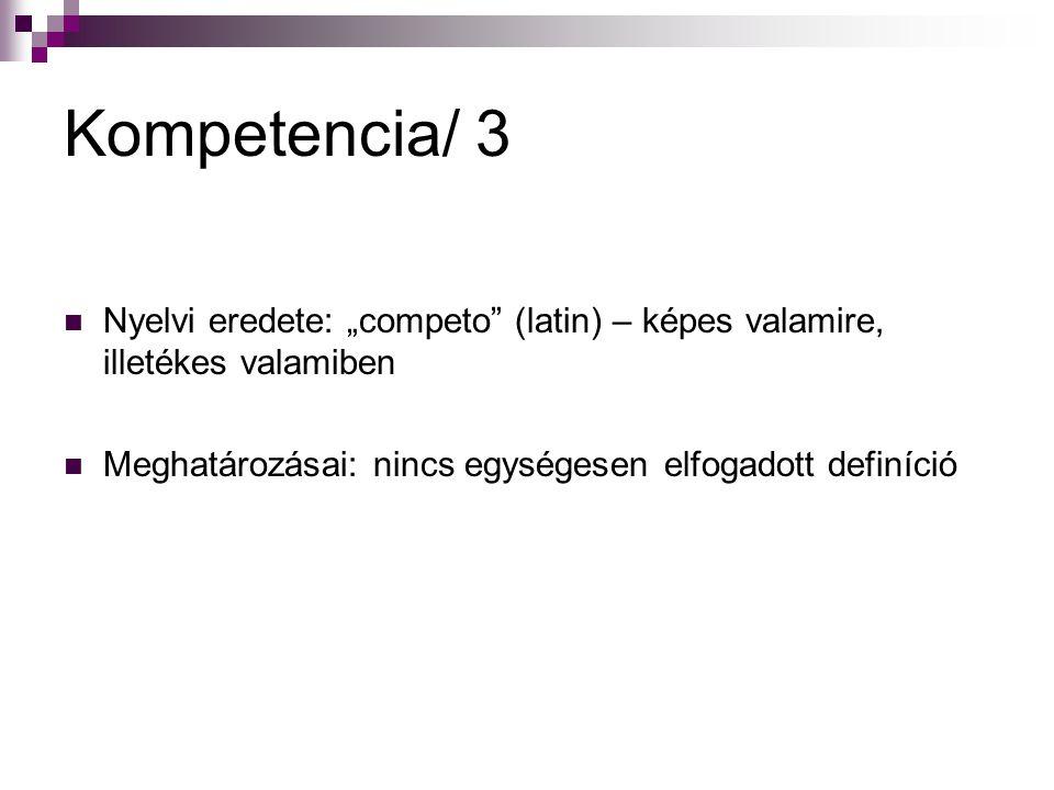 """Kompetencia/ 3 Nyelvi eredete: """"competo"""" (latin) – képes valamire, illetékes valamiben Meghatározásai: nincs egységesen elfogadott definíció"""