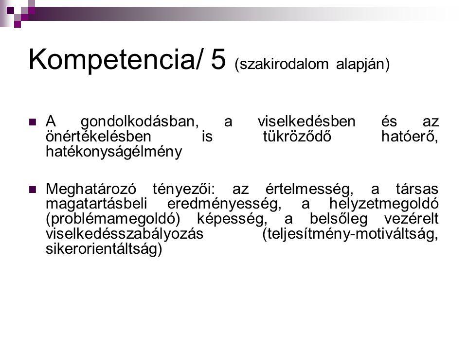 Kompetencia/ 5 (szakirodalom alapján) A gondolkodásban, a viselkedésben és az önértékelésben is tükröződő hatóerő, hatékonyságélmény Meghatározó ténye