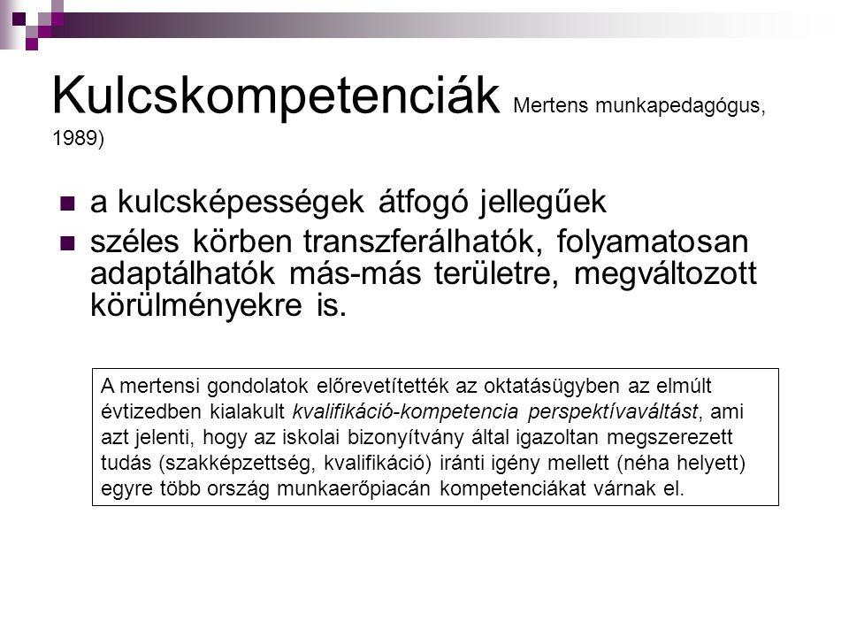 Kulcskompetenciák Mertens munkapedagógus, 1989) a kulcsképességek átfogó jellegűek széles körben transzferálhatók, folyamatosan adaptálhatók más-más t