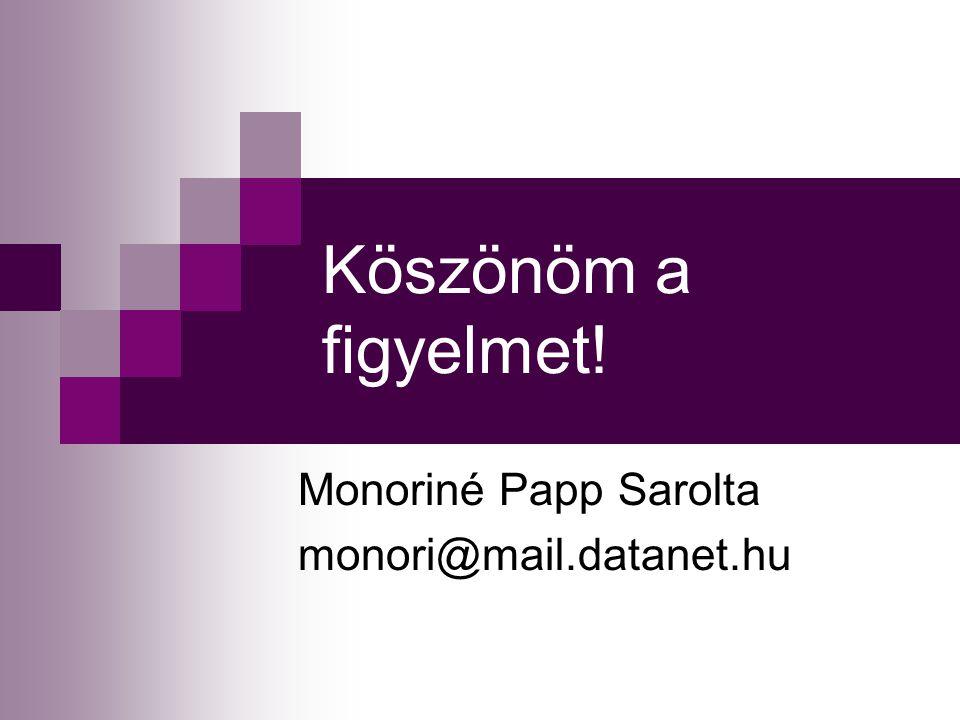 Köszönöm a figyelmet! Monoriné Papp Sarolta monori@mail.datanet.hu