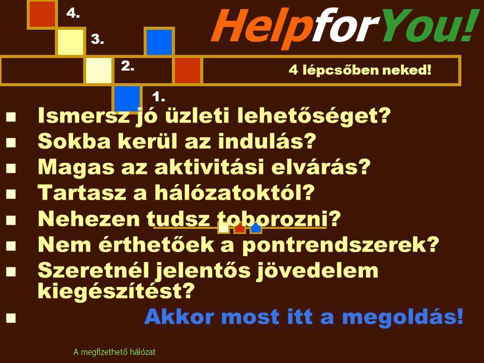 A megfizethető hálózat HelpforYou. Ismersz jó üzleti lehetőséget.